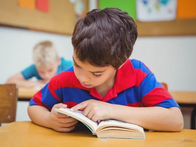 Μαθητής διαβάζει βιβλίο στη τάξη